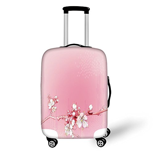 Travel Luggage Cover Suitcase Protector,Peach,Japanese Inspired Cherry Blossom Branch Sakura Flowers in Soft Colored Spring Time Decorative,Pink White,for Travel (Cherry Rockford)