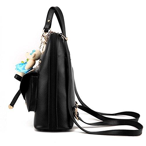 Rose Sac Sacs Ours PU sac à Noir Casual Mini Femme avec Sac Cuir Loisir à Bandoulière Dos dos en à xWnaa1qUp
