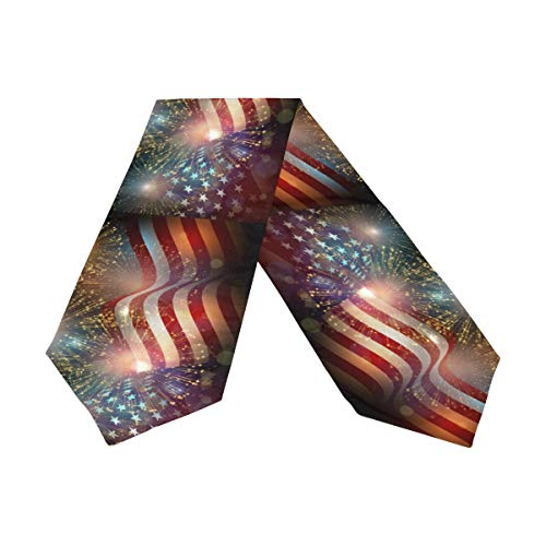 4th Of July Table Runner (Wamika Patriotic Table Runner 13x70 Inches Double Sided, Firework US American Flag Table Runners Cloth Placemats for Kitchen Dining Home Decor, 4th of July Memorial Day Party)