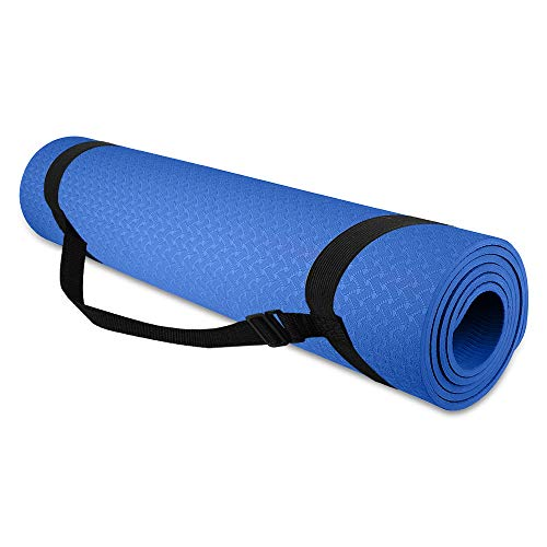 SZLHLTD Yoga Mat Thick Multi-Purpose Lightweight Pilates Fitness Mats, 1/4 inch Pro Yoga Mat Friendly Exercise & Workout Mat with Carrying Strap - for Yoga(Blue)
