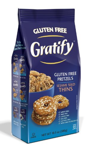 (Gratify Gluten Free Pretzel Thins Sesame Seed Vegan GF Pretzel Crisps, 10.5oz Bag (Pack of 6))