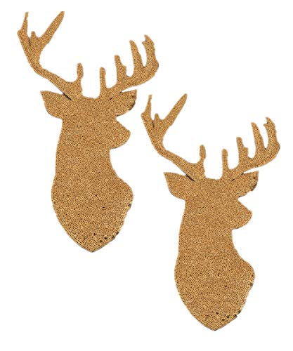 2 Pack Jumbo Christmas Deer Head Iron on Patches Sew on Embroidered Patch Sequin Appliques for DIY Motif Family Chritmas Tops Home Decor (Gold) - Head Applique