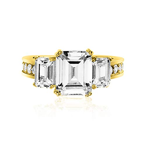 - Devin Rose Yellow Gold Plated Sterling Silver Three Stone Emerald Cut Cubic Zirconia Anniversary/Engagement Ring for Women (Round 7)
