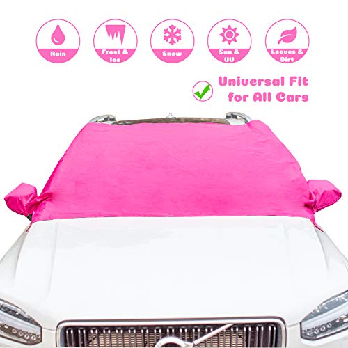 Candy Cars Windshield Snow Cover and Sun Shade Protector Pink for Ladies All Weather Winter Summer for Cars Trucks Vans SUVs Non Scratch Magnetic Keep Your Vehicle Exterior Ice & Snow Free