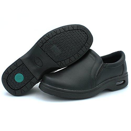 Han's Men's Non Slip Resistant Restaurant Kitchen Black Work Shoes Oil Resistant Loafer Slip-On Non-Slip (8.5 D(M) US)