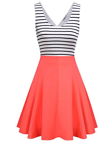 MISSKY Women's Open Back Sleeveless Sexy Hollow Out Slim Fit Black White Stripe Casual Cute Mini Dresses Coral (Sexy Coral)