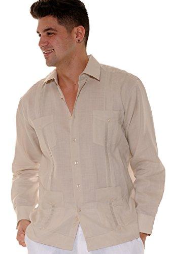 Men's Guayabera Linen Traditional 4-Pocket Long Sleeved Shirt in (8) Colors (MLS501-P2)-Natural-XL