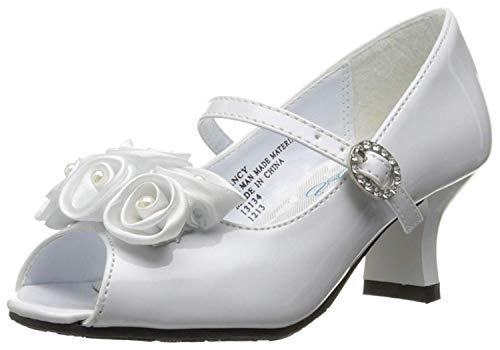 Swea Pea & Lilli Girl's Peep Toe Dress Shoe with Satin Flowers White -