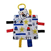 Baby Sensory Crinkle & Teething Square Lovey Toy with Closed Ribbon Tags for Increased Stimulation: 8 X8   (Police Car)