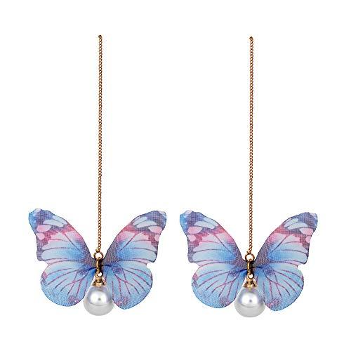 Blue Butterfly Earrings - Women Butterfly Earrings with Chain - InsectEarrings Tassel - Monarch Earring for Girls,Butterfly Party,Birthday or Daily Wear (Blue Butterfly Chain)