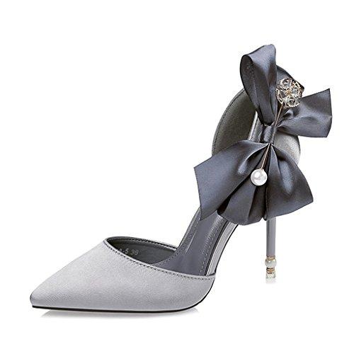 ALUK- Damenschuhe - Stöckelschuhe einzelne Schuhe beugen wilde Schuhe Perle Strass Hochzeitsschuhe ( Farbe : Grau , größe : 35-Shoes long225mm ) Grau