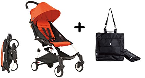 BabyZen YoYo Stroller - White/Red + Babyzen Premium YoYo Travel Bag, Black