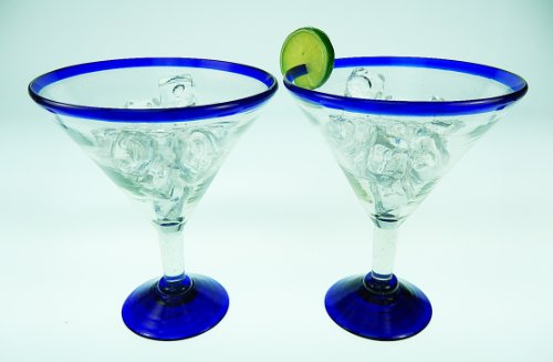 Mexican Glass Margarita Blue Rim 20 Oz with Coronarita Clips Corona Beer Holders (set of 2) by Mexican Margarita Glasses (Image #4)