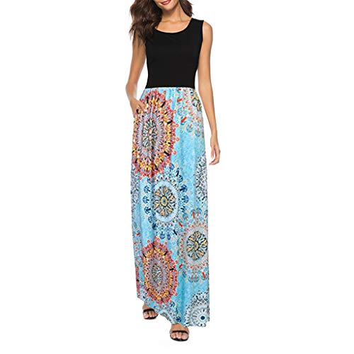 Tantisy ♣↭♣ Women's Summer Sleeveless Boho Patchwork Casual Long Maxi Dresses Vintage Swing Party Dress Blue
