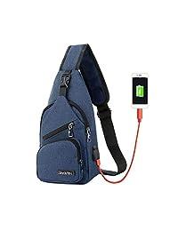 Bolsas Cruzado HuldaqueenMX Usb los hombres de bolso del pecho de los hombres de diseño de lona bolsa de mensajero bolsas de hombro diagonal paquete Volver Paquete de viaje