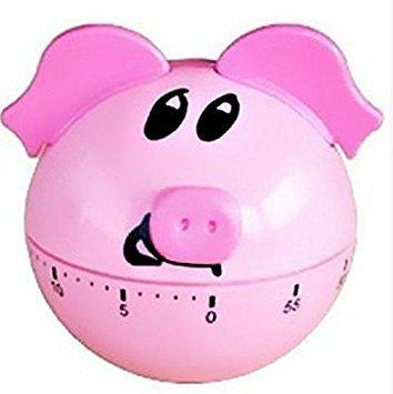 (Zehui Home Decor Novelty Clockwork Kitchen Mechanical Timer Round Bottom Pig)