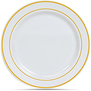 Select Settings [50 COUNT] Dinner Disposable Plastic Plates White with Gold Rim 10.25  sc 1 st  Amazon.com & Amazon.com: Select Settings [50 COUNT] Dinner Disposable Plastic ...