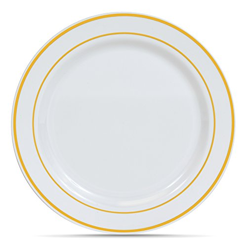 Select Settings [50 COUNT] Dinner Disposable Plastic Plates, White with Gold Rim 10.25-Inch