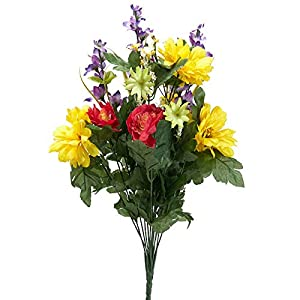 Factory Direct Craft Artificial Zinnia Rose and Delphinium Bush 58