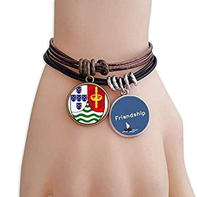 YMNW Sao Tome and Principe National Emblem Friendship Bracelet Leather Rope Wristband Couple Set Estimated Price -