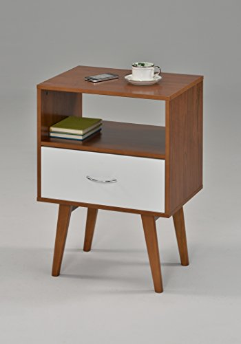 410b8O0h19L - eHomeProducts Side End Table/Nightstand with Drawer/Shelf, White/Dark Oak