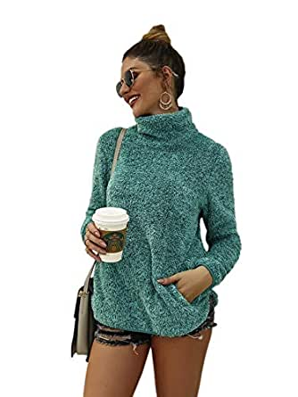 Milumia Womens Turtleneck Ribbed Cable Knit Loose Long Sleeve Pullover Sweater with Pocket Green-2 Small