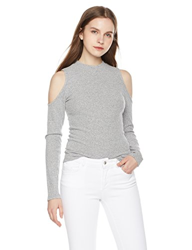 Something-For-Everyone-Womens-Marled-Rib-Cold-Shoulder-Top