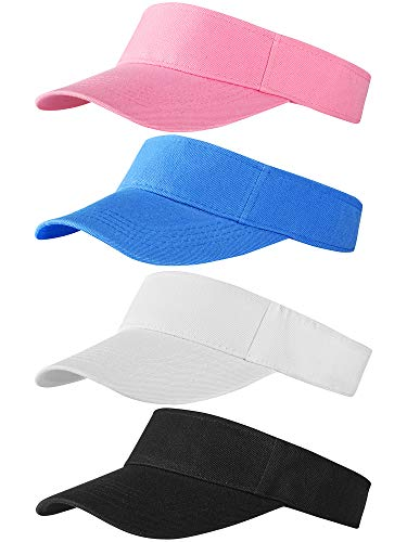 Trounistro 4 Pack Sun Sports Visor Hats Adjustable Hat Summer Cotton Cap for Golf Cycling Fishing Tennis Running Jogging and Other Sports (Style 2)