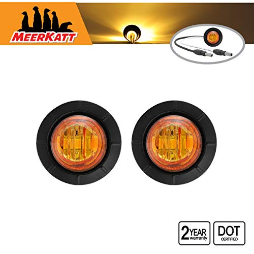 Meerkatt (Pack of 2) 3/4 Inch Mini Round Amber LED Bullet Side Marker Button Indicators Light SMD Extra Bright Grommets w/Plug Truck Jeep Trailer Pickup Boat Lorry Bus 12v DC Waterproof Lens 3LED-DC