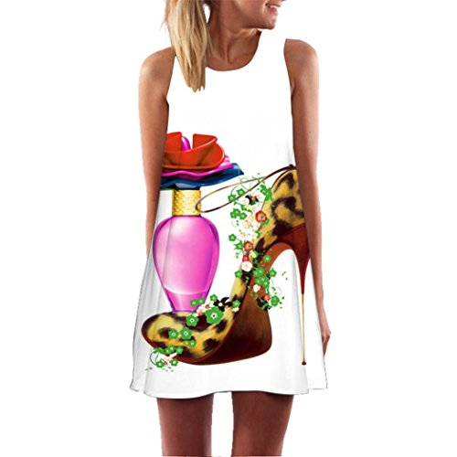 Owill Women Loose Summer Vintage Sleeveless 3D Floral Print Bohe Tank Short Mini Dress (Purple, L) from Owill