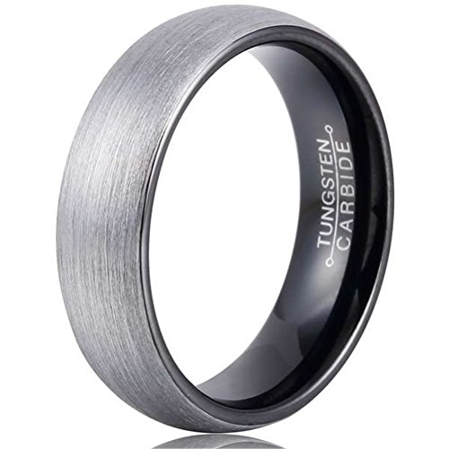 Mens 8mm Tungsten Carbide Ring Black Fashion Wedding Engagement Promise Band Silver Dull Polish ()