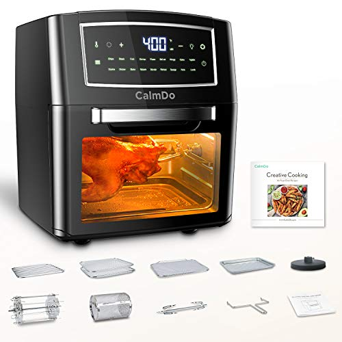 CalmDo Air Fryer Toaster Oven 12 Quarts, Rotisserie, Dehydrator, Convection Oven, 18 functions to Fry, Roast, Dehydrate, Bake, Reheat, 10 Accessories & Recipe Included, Black