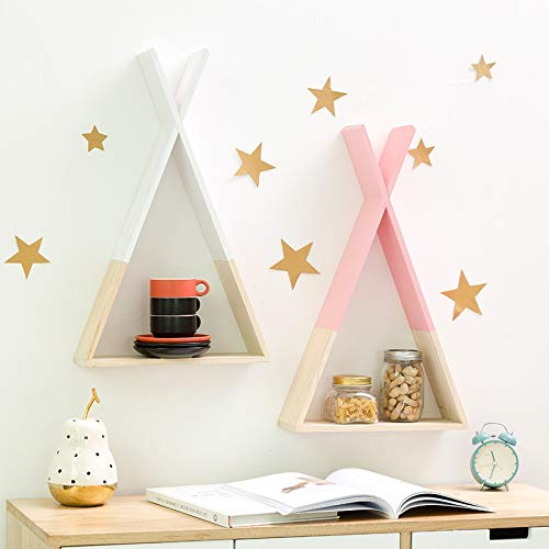 Amazon.com: Nordic Wooden Triangle Wall Decoration Shelf Kids Children Room Hanging Storage Woodland DIY Gift 30x25x10CM: Kitchen & Dining