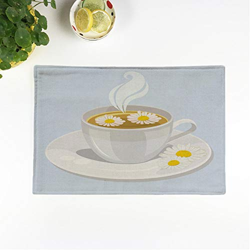 rouihot Set of 6 Placemats Yellow Beverage Hot Cup of Chamomile Tea Blossom Breakfast 12.5x17 Inch Non-Slip Washable Place Mats for Dinner Parties Decor Kitchen Table from rouihot