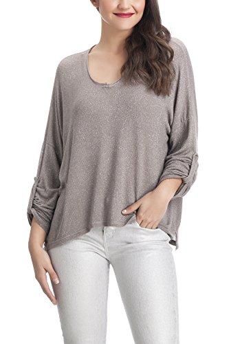 Laura Moretti - Suéter o Jersey fino estilo oversized con brillo Taupe