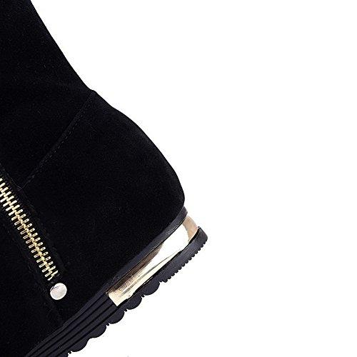 AllhqFashion Mujeres Esmerilado Puntera Redonda Sólido Caña Media Mini Tacón Botas Negro