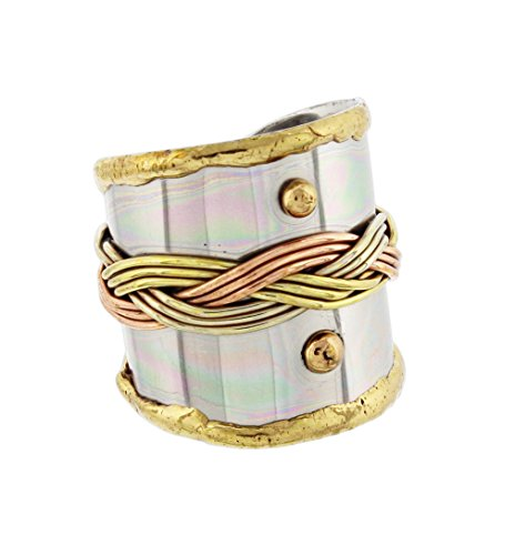Anju Cuff Ring Welded Mixed Metal Design - Copper, Stainless Steel, Brass (Woven Braids)
