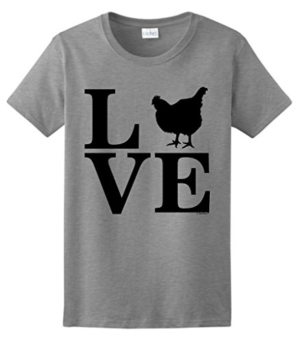 , Love Chickens Ladies T-Shirt Medium SpGry ()