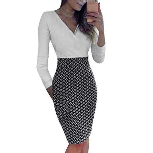 Womens Bodycon Pencil Dress Business Work Patchwork Party Knee Length Slim Fit Midi Dress (White, - Neck Crotch Open Bodystocking Scoop