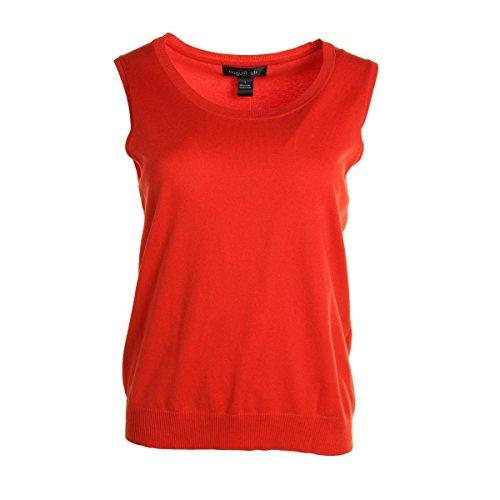 Jewel Neck Shell (August Silk Womens Silk Blend Sleeveless Sweater Orange L)