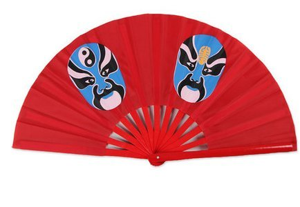 Face red hand fan tai chi fan loud fan Mulan thick bamboo bone red Shan Gu performances fan tai chi kung fu fan send fan bags