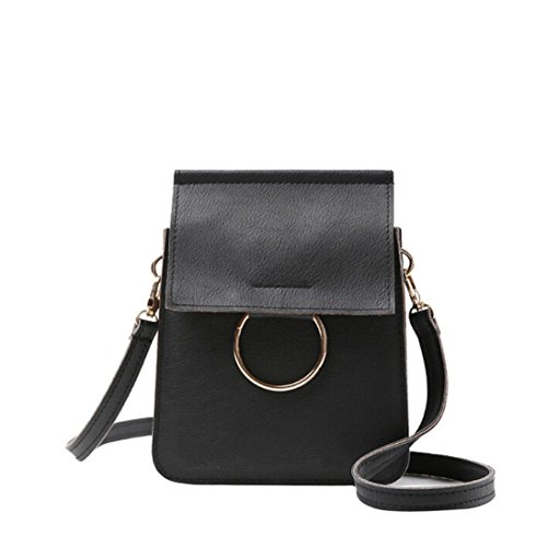 Outtop MINI Messenger Bag Cross Body Hobo Handbag Tote Bags for Women Girl (Black)