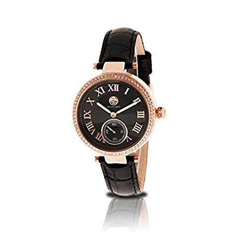 Michael Zweig Ladies Watch, Multifunction Crystal Accent Genuine Leather Band Womens Watch Tt Gold Dial