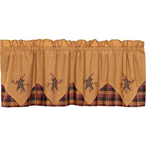 Heritage Star Valance - VHC Brands Primitive Kitchen Curtains Heritage Farms Pip Rod Pocket Cotton Hanging Loops Appliqued Star 20x60 Valance Mustard Yellow