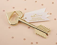 Kate Aspen's Cupid's Arrow Gold Bottle Opener brings a touch of Modern Romance to your bridal party gifts, bridal shower prizes, and wedding favor welcome bags! The gold-toned metal arrow shaped bottle opener is durable and sturdy, with a bot...