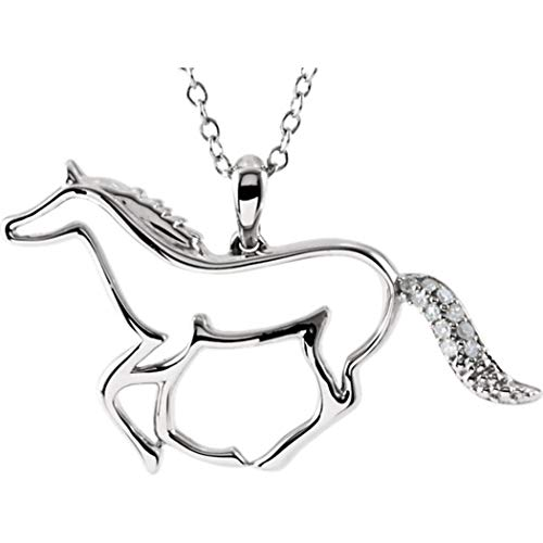 (Diamond Horse Necklace Sterling Silver with Chain)