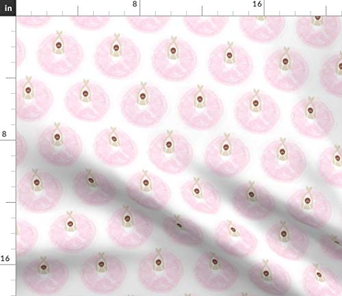 Spoonflower Ballet Pink Polka dots Fabric - Ballet Dance Baby Girl Ballet Polkadots Dance Tutu Classical Nursery Kids by Colour Angel by Kv Printed on Fleece Fabric by The Yard