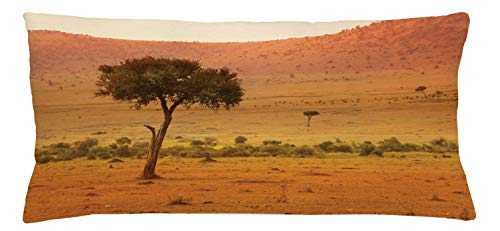 Lunarable Wilderness Throw Pillow Cushion Cover, View of African Savannah at Sunset Barren Landscape with Trees Bushes, Decorative Square Accent Pillow Case, 36 X 16 Inches, Orange Coral Green