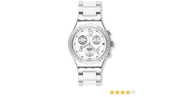 Swatch IRONY CHRONO - Reloj analógico de mujer de cuarzo con correa de acero inoxidable blanca (cronómetro) - sumergible a 30 metros: Swatch: Amazon.es: ...