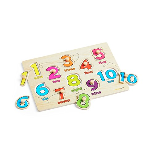 Wooden Peg Puzzle for toddlers - 3 Piece puzzle set for kids - Alphabet ABC, Numbers and Shapes Toy - Perfect pegged puzzles for kid learning letters, number, shape board puzzles for toddler ages 3+ by Orange Pieces (Image #6)